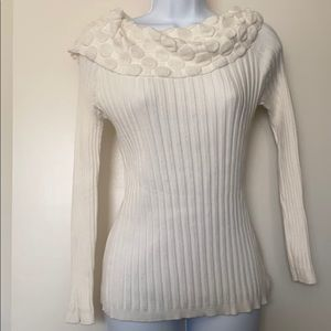 New Directions cowl neck popcorn sweater small